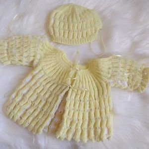 Other - INFANT HAND KNITTED SWEATER AND HAT SET
